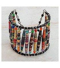 recycled paper wristband bracelet, 'love stories' (brazil)