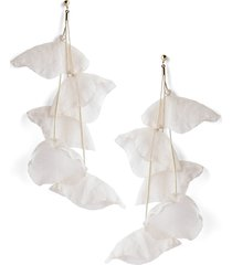 stella + ruby chiffon flower earrings in gold/ivory at nordstrom
