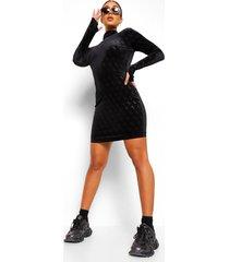 velours bodycon jurk met b reliëf en open rug, black