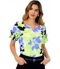 blusa manga corta con boleros en el frente verde lima unipunto 32305