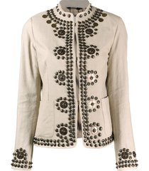 bazar deluxe studded mock-neck jacket - neutrals