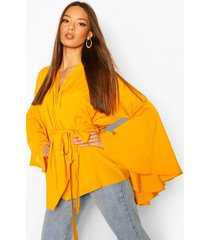 extreme flare sleeve wrap top, mustard