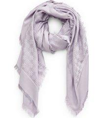 women's tory burch logo jacquard cotton & silk travel scarf, size one size - purple