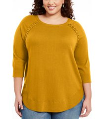style & co plus size braided lace-up tunic, created for macy's