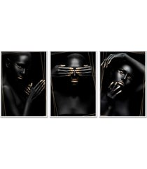 kit 3 quadro  oppen house coleã§ã£o  noir altin moldura branca decoraã§ã£o - multicolorido - dafiti