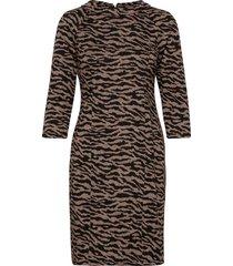 dress short 3/4 sleeve jurk knielengte bruin betty barclay