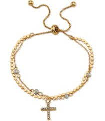 gratitude & grace gold flash plated crystal and pearl cross adjustable bolo bracelet