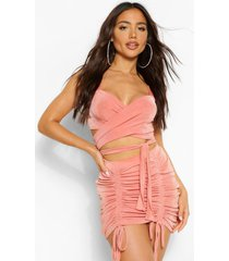 twist front textured slinky top, peach
