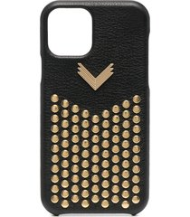 manokhi studded leather iphone 11 pro case - black