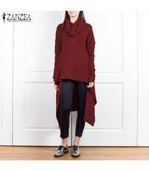 zanzea mujeres sudadera con capucha casual t blusa de la camisa t alta baja largas de la túnica top -rojo
