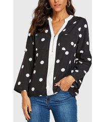 yoins blusa negra de manga larga con lunares y diseño de cremallera