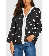 yoins cremallera negra diseño blusa de manga larga con lunares