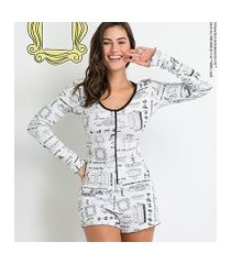 pijama acuo macaquinho manga longa friends ribana