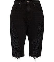 frame le vintage distressed-effect bermuda shorts - black