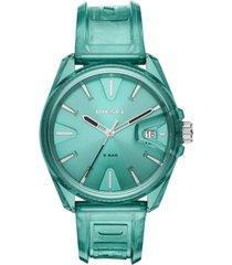 diesel unisex ms9 green transparent polyurethane strap watch 44mm