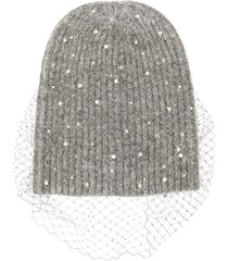 jennifer behr crystal-scattered voilette beanie - grey
