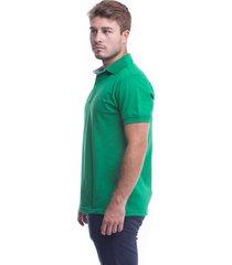 camiseta polo hamer, basica con bordado, para hombre color verde antioquia
