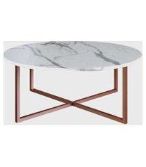 mesa de centro redonda thassos/est. cobre artesano branca