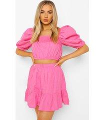 top met pofmouwen en mini rok met losvallende zoom, pink