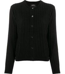 a.p.c. ribbed slim-fit cardigan - black