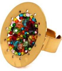 anillo imperial baño oro tejido multicolor bijulovers