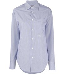 dsquared2 vertical-stripe long-sleeve shirt - blue