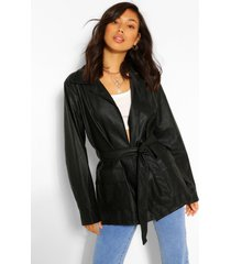 collared belted faux leather jacket, black