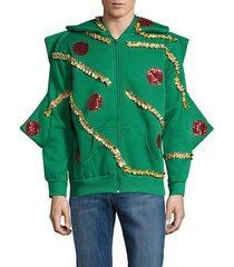 embellished christmas tree zip hoodie