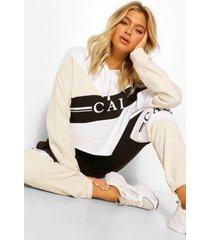 tall korte colour block 'cali' hoodie, steenrood
