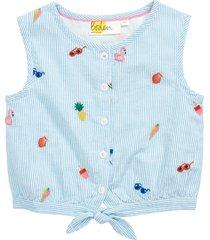 girl's mini boden kids' embroidered stripe tie hem top, size 5-6y - none