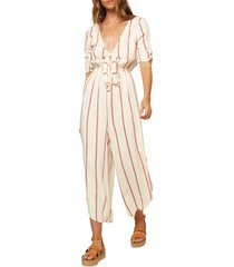 women's o'neill sincerely stripe tie front jumpsuit