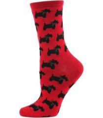 ribbon collar dog cashmere women's crew socks