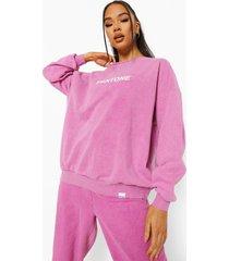 acid wash gebleekte pantone sweater met crewneck, gewassen roze