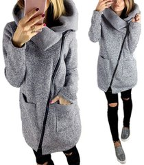 s 5xl damen winter warm zip up hooded sweatshirt oversize outwear coat