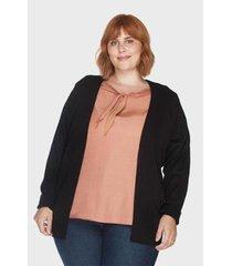 cardigan alongado básico plus size kalanchoê tricotaria feminino