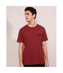 camiseta masculina harry potter com bordado manga curta gola careca vinho