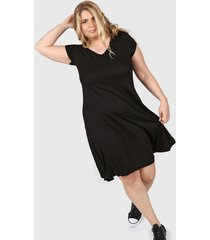 vestido negro minari bolsillos plus size