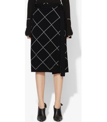 proenza schouler windowpane wrap knit skirt black/optic white l