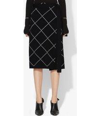 proenza schouler belted wrap skirt black/optic white l