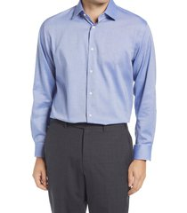 men's big & tall nordstrom traditional fit non-iron dress shirt, size 18.5 - 36/37 - blue