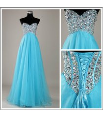 sweetheart sky blue chiffon beads lace up back long party/evening/prom dress