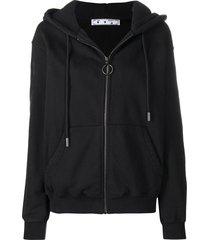 arrow zipped hoodie, black