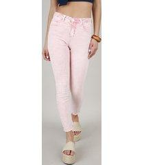 calça de sarja feminina skinny com bolsos rosa claro