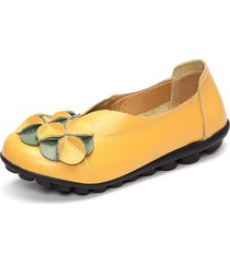 socofy scarpe basse slip-on in pelle comode con soletta morbida decorate con fiore
