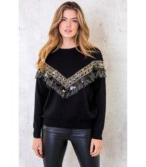 kelim trui zwart
