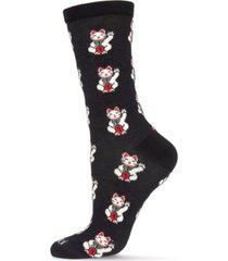 memoi women's maneki-neko crew socks