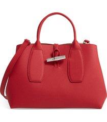 longchamp medium roseau leather tote - red