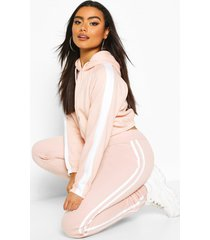side stripe cropped hoodie, blush