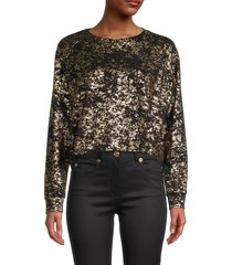 terez women's metallic foil-print top - black gold - size s