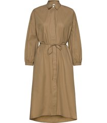 three-quarter sleeve midi shirtdress knälång klänning beige gap
